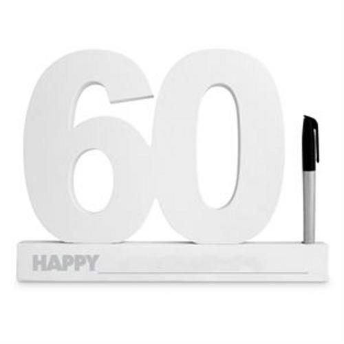 60TH BIRTHDAY SIGNATURE BLOCK WHITE