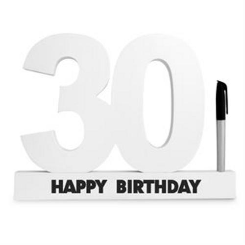 30TH  BIRTHDAY SIGNATURE BLOCK WHITE WITH MARKER