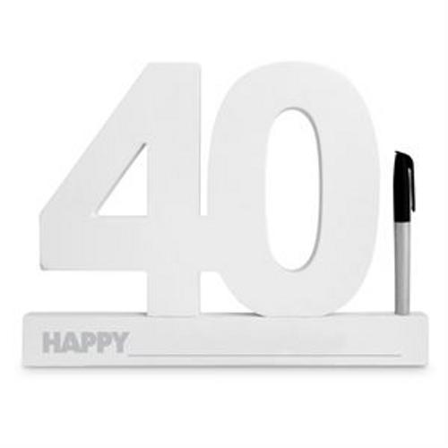 40TH BIRTHDAY SIGNATURE BLOCK WHITE