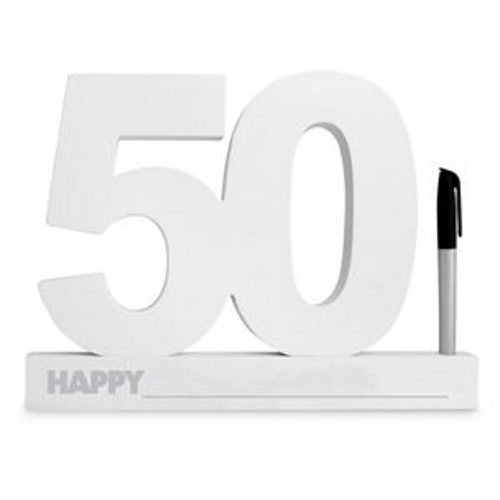 50TH BIRTHDAY SIGNATURE BLOCK WHITE