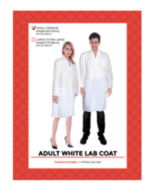 Adult White Lab Coat Costume (S/M)