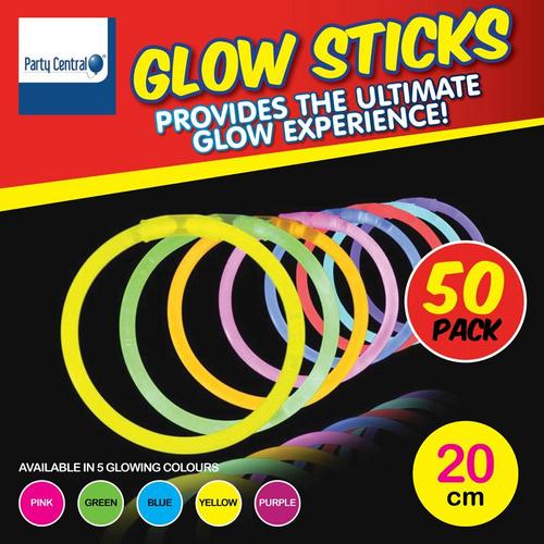 Glow Sticks In Tube 5cm x 20cm 50pk