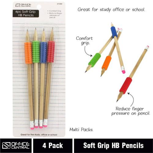 Pencils Soft Grip HB 4pk