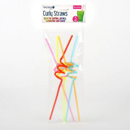 Drinking Straw Reusable Curly 5pk