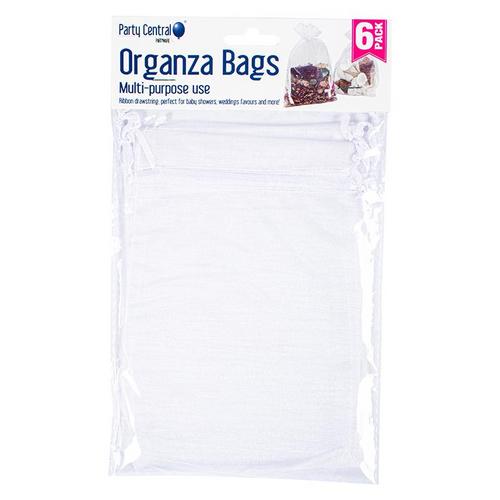 Bag Organza Assorted Colours White Silver Black 6pk 12cm x 17cm