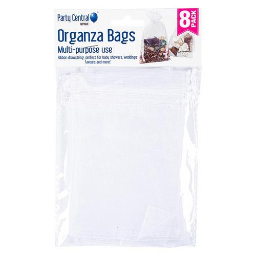 Bag Organza Aosstred Colours White Silver Black 8pk 9.5cm x 15cm