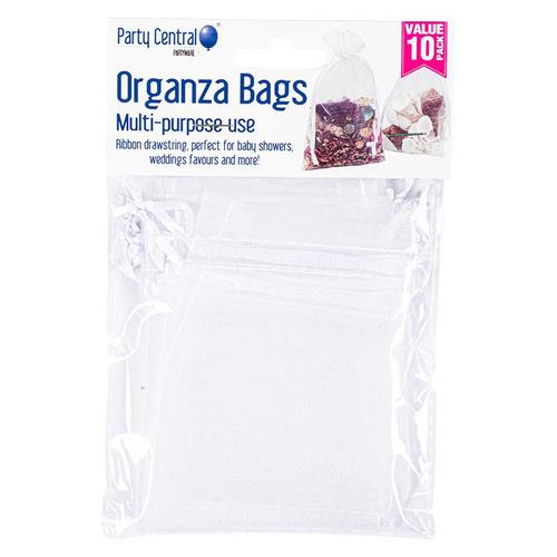 Bag Organza Assorted Colours White Silver Black 10pk 7.5cm x 10cm