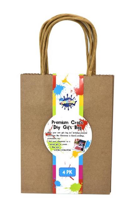 4PK Craft DIY Gift Bags - 20CM x 15CM x 9CM