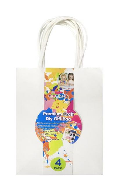4PK White Craft DIY Gift Bags - 20CM x 15CM x 9CM