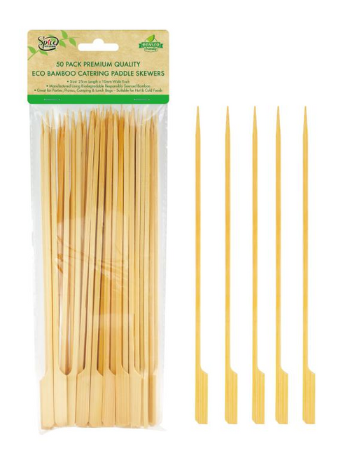Bamboo Catering Paddle Skewers 25CM-50PK
