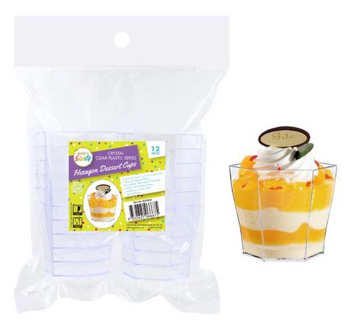 12PK Crystal Clear Plastic Series Hexagon Dessert Cups