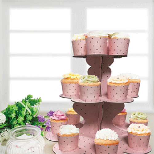 **3 Tier Pink Cake Stand with Gold Foiled