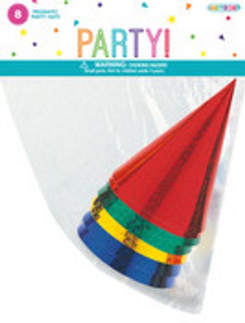 8 PARTY HATS - PRISMATIC FOIL