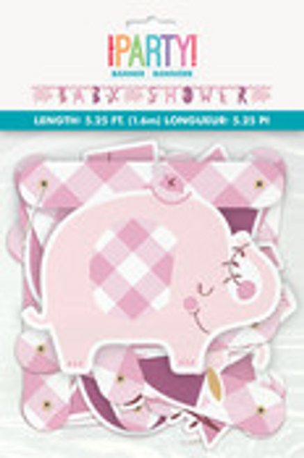 PINK FLORAL ELEPHANT JOINTED BANNER