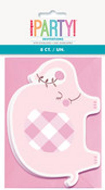 PINK FLORAL ELEPHANT 8 INVITATIONS