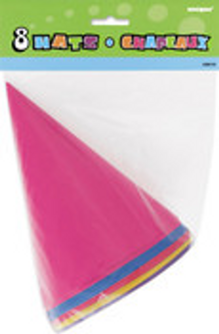 8 PARTY HATS - MULTI