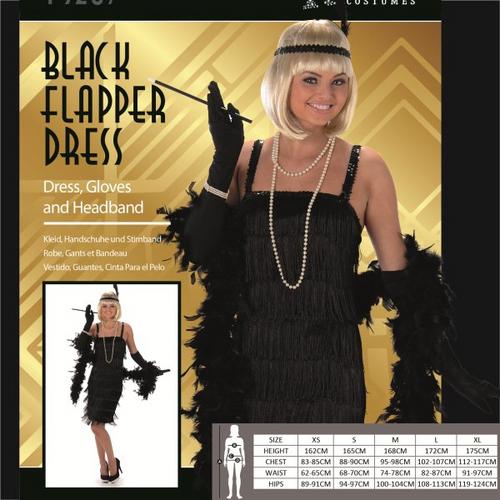 BLACK FLAPPER DRESS SIZE M