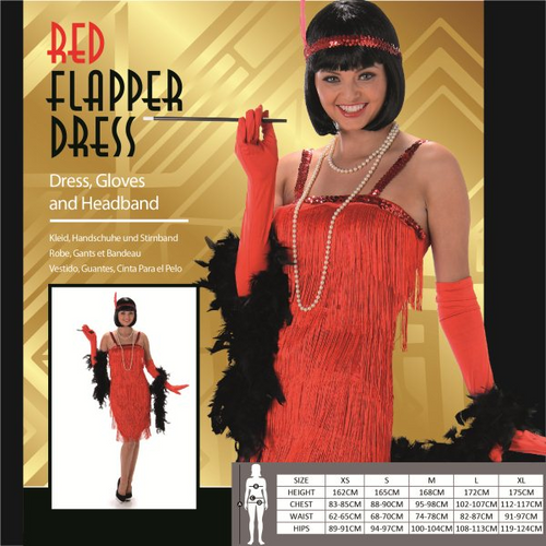 RED FLAPPER DRESS SIZE S