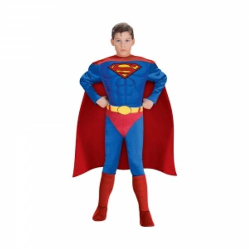 BOYS SUPERHERO JUMPSUIT MUSCLED W CAPE AND BELT IN ZIPPER  BAG