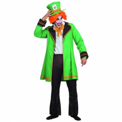 ADULT MAD HATTER COSTUME   IN PVC BAG W/COLOUR CARD HAT,BOW , COAT , PANTS