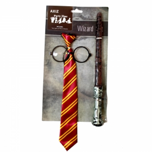 WIZARD SET ,CONTAINS, TIE , GLASSES, LIGHT UP WAND ON COLOUR CARD
