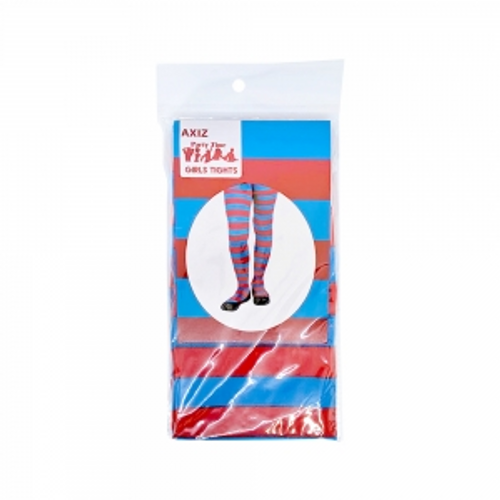 GIRLS BLUE & RED STRIPED STOCKINGS IN POLYBAG W/ INSERT CARD