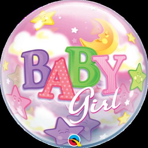 "22""  SINGLE BUBBLE BABY GIRL MOON & STARS"