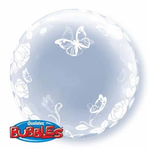 """24""""  DECO BUBBLE ELEGANT ROSES & BUTTERFLIES"""