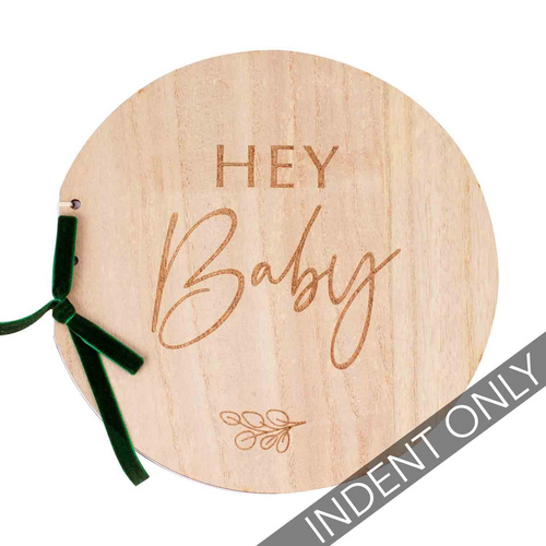 Botanical Baby Wooden Hey Baby Guest Book