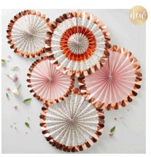 Ditsy Floral Fan Decorations Floral 5 Pk