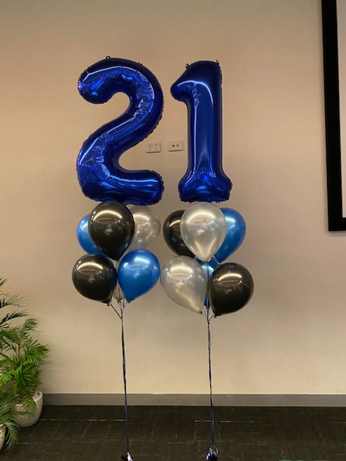 Two foil numbers with latex balloons Bouquet