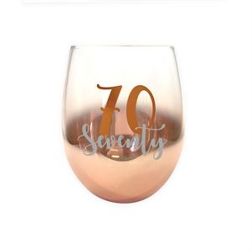 70 ROSE GOLD OMBRE STEMLESS WINE GLASS 600ml