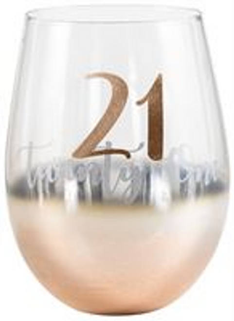 21 ROSE GOLD OMBRE STEMLESS WINE GLASS 600ml