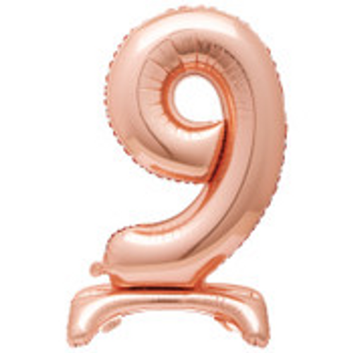 """30"""" ROSE GOLD FOIL STANDING NUMBER BALLOON-9"""