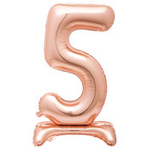 """30"""" ROSE GOLD FOIL STANDING NUMBER BALLOON-5"""