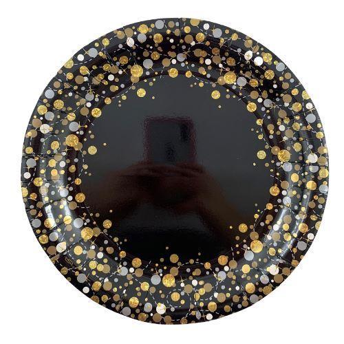 "SPARKFIZZ BLACK & GOLD 9"" (23cm) PLATE P8"
