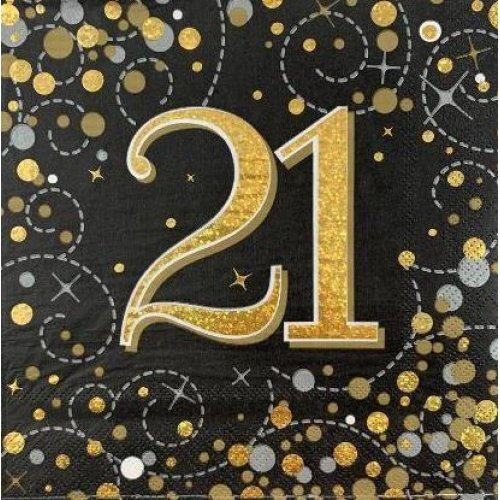 SPARKFIZZ BLACK & GOLD NAPKIN 21 P16