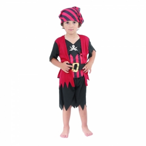 TODDLER  RED PIRATE, SHIRT W/ ATTACHED VEST, PANTS, BELT,BANDANNA