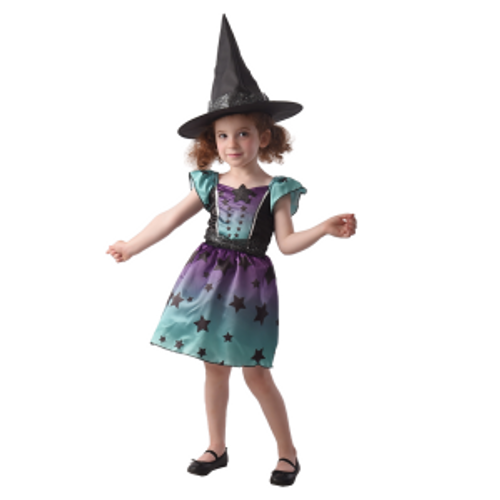 TODDLER  STARRY WITCH, DRESS , HAT