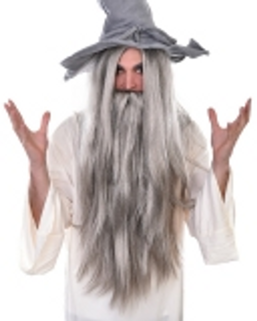 Wizard Wig and Beard White