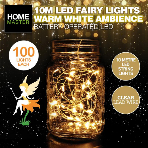 Fairy Lights Clear Warm White Battery Operated 100pk