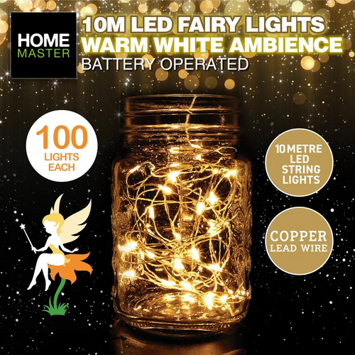 Fairy Lights Warm White Copper Battery Operated 100pk
