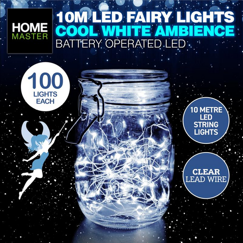 Fairy Lights Clear Cool White Battery Operated 100pk