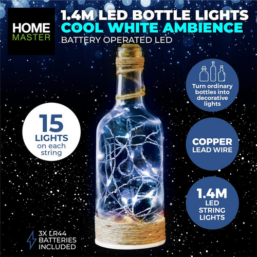 Bottle Fairy Lights Cool White 15 LED Battery Operated Copper  (257973)