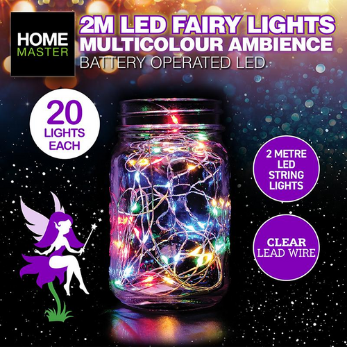 Fairy Lights Clear Multi Colour Battery Operated 20pk