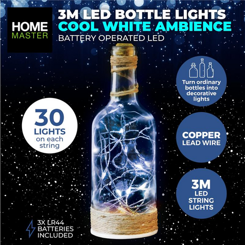 Bottle Fairy Lighs Cool White 30 LED Battery Operated Copper (258000)
