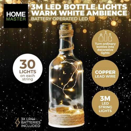 Bottle Fairy Lighs Warm White 30 LED Battery Operated Copper (258017)