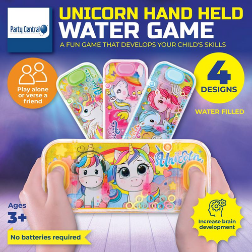Hand Held Water Skill Game Unicorn Party 15.5cm x 7cm 4 Assorted Designs