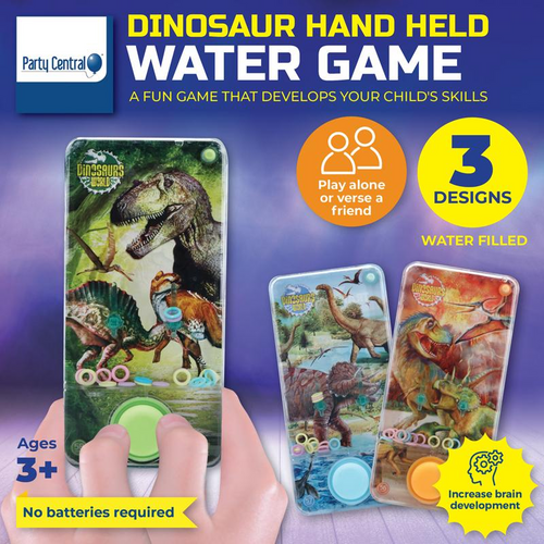 Hand Held Water Skill Game Ancient Dinosaur 14cm x 7cm 3 Assorted Designs