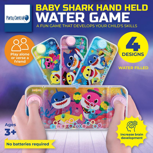 Hand Held Water Skill Game Baby Shark 15.5cm x 7cm 4 Assorted Designs